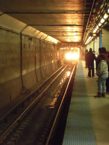 The Blue Line El Approaching